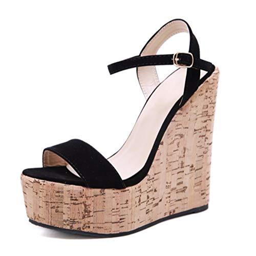 Sandalen met sleehak voor dames Superhoge hak 16 Cm Open teen Waterdicht platform in Europese stijl Zwart,36