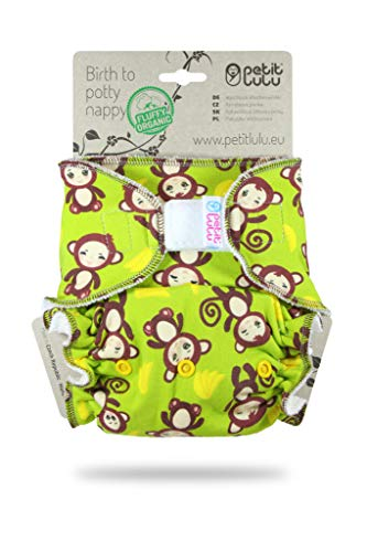 Petit Lulu One Size Höschenwindel (4-15 kg) Klett | Fluffy Organic | Bambus natürliche wiederverwendbare Stoffwindeln | Ohne Polyester (Affe)