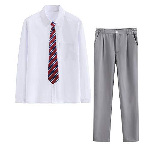 スクール ブラウス シャツ シンプル 制服 無地 フォーマル 男の子 男性半袖 長袖スクール Yシャツ+ズボン+ネクタイ (L, 長袖+レッドネクタイ+グレー