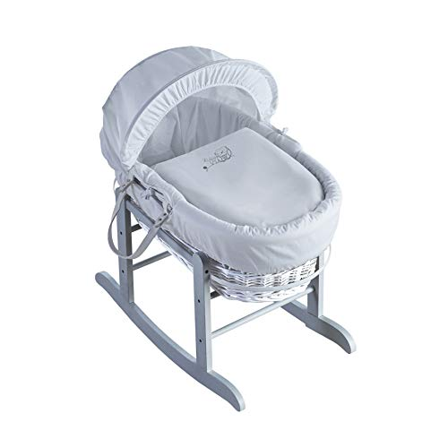 Kinder Valley Sleepy Owl White Wicker Moses Basket with Deluxe Grey Rocking Stand, Adjustable Hood & Padded Liner