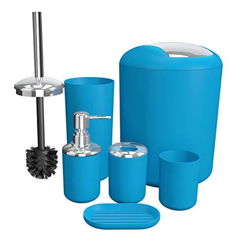 TEKITSFUN Bathroom Accessories Set 6 Pieces Plastic Bathroom Accessories Toothbrush Holder, Rinse Cup, Soap Dish, Hand Sanitizer Bottle, Waste Bin, Toilet Brush with Holder (Blue)