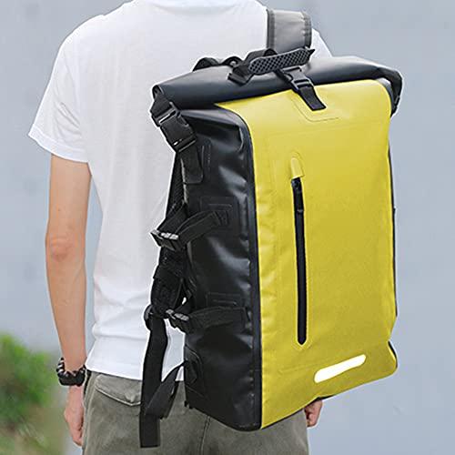 Mochila Impermeable, Bolsa Tipo Cubo con Tiras Reflectantes Bolsa de Almacenamiento Mochila Impermeable de PVC, Adecuada para Playa, Kayak, canotaje, Mochila para Acampar,Amarillo