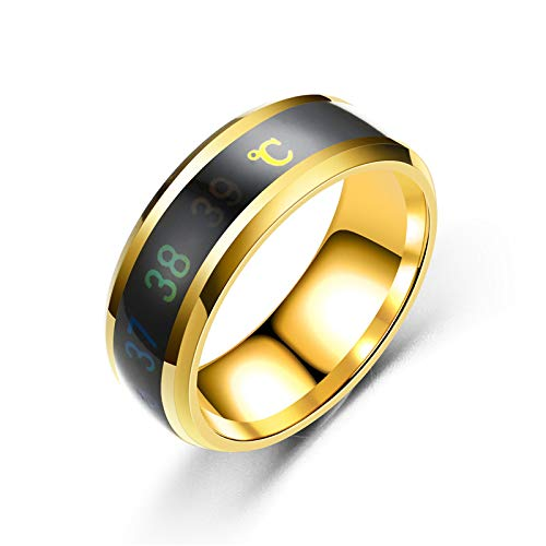 Anello da uomo,anello da dito con indice di temperatura creativo,personalità intelligente,temperatura dei ragazzi