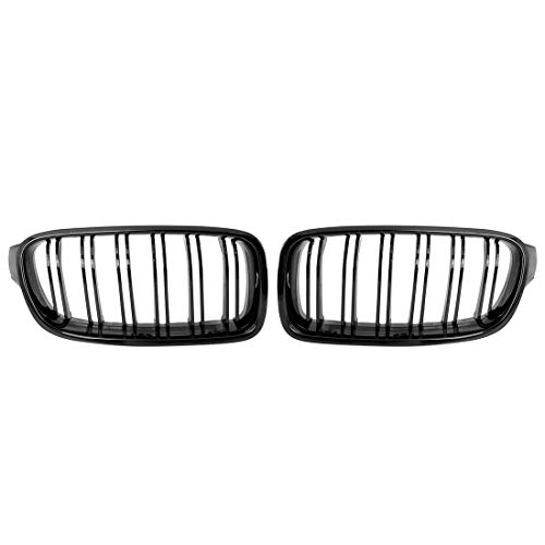 X AUTOHAUX Pair Gloss Black Front Kidney Grille Grill for BMW F30 2012-2018 4 Door Double Line