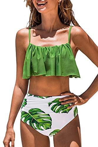 CUPSHE Femme Bikini Bandeau à Volants Plissés Taille Haute Rayé Maillots de Bain 2 Pièces