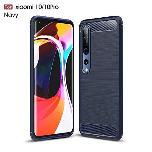 AILZH Handyhülle für Xiaomi Mi 10 Pro/Mi 10 Hülle TPU Weiches Silikon Handyhülle Schutzhülle Anti-Schock Stoßfänger Stoßfest Kratzschutz Shockproof Bumper Cover Carbon-Faser Hülle(Blau)