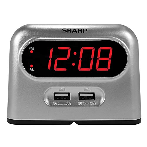 Sharp Digital Alarm Clock with 2 Ultra Fast Charging USB Quick Charge Ports - Twice as Fast as Conventional USB Chargers - Battery Back-up - Easy to Use