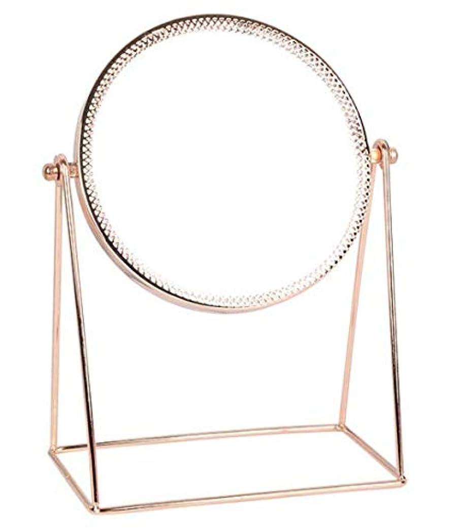 コア息切れドライメイクアップミラーバニティ化粧鏡ラウンド面360度スイベル回転エレガントなメタルスタンド用ホームベッドルームバスルーム (ゴールド)