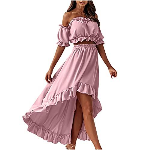 Sommerkleid Elegant RüSchenkleid Damen Lang Crop Top Rock Set Sommerkleid Kurzarm Schulterfrei Strandkleid LäSsiges Kleid Swing Kleid...