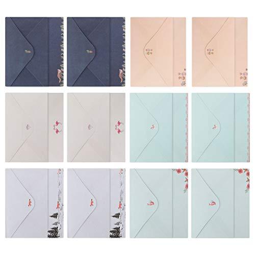 STOBOK 36Pcs A5 Carta Escrita Papelaria Papel 18Pcs Envelopes Conjunto Bonito Cartão de Saudação Envelope Cartão de Presente Envelope Manga Dinheiro Titulares de Dinheiro para Presentes