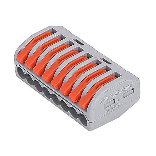 goodjinHH 50 Stück Verbindungsklemmen mit Betätigungshebeln | 8-Leiter, 218, 250V-4KV, 32A, 7KW (Gelb)