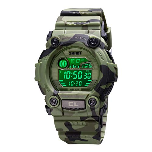 CakCity - Reloj deportivo para niños, diseño de camuflaje, resistente al agua, electrónico, militar, para niños, con alarma luminosa, cronómetro, para niños de 3 a 15 años
