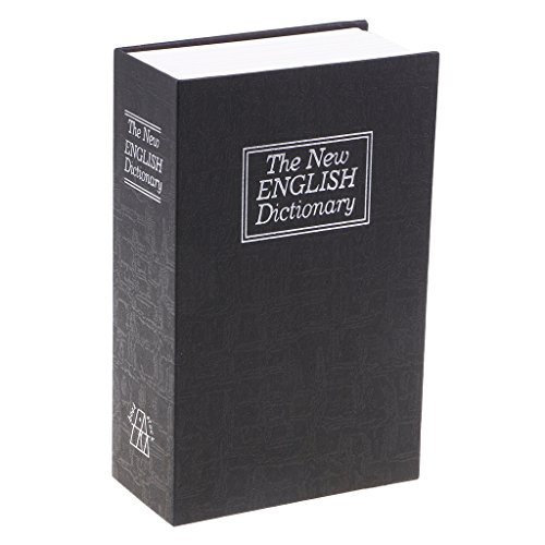 Hellery Caja Fuerte para Libros con Cerradura Pequeño Libro O Diccionario Seguro Oculto Secreto - Negro, Individual