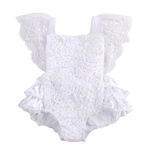 Brightup Bébé Fille Combinaison à Sans manches en dentelle Blanche