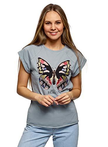 oodji Ultra Mujer Camiseta de Algodón con Bordado y Bajo sin Rematar, Azul, ES 44 / XL