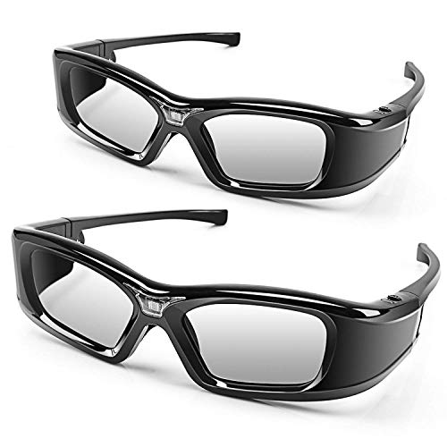 3D Glasses APEMAN DLP Link Active Shutter 3D Glasses LCD Lens High Brightness Contrast Rechargeable Battery 50 Hours Using Compatible with All 3D DLP Projectors (2 Pack)