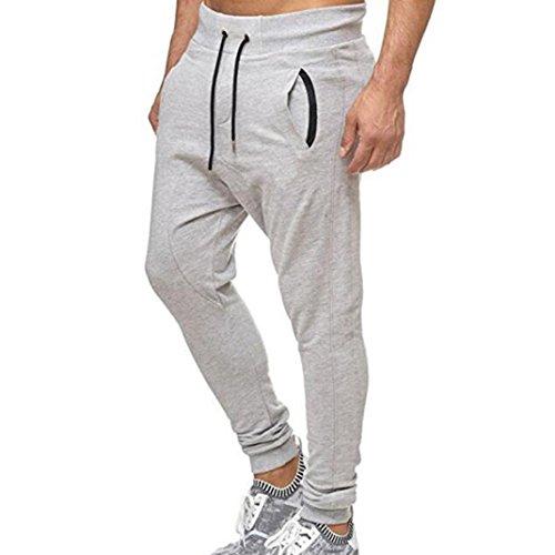 Paolian Pantalons de Sport Occasionnels à la Mode pour Hommes, Pantalons décontractés de Poche, Version Douce et Confortable (XXXL, Blanc)