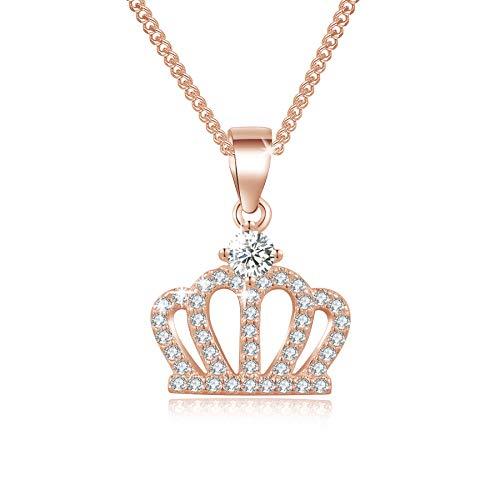MENDOZZA Collar de mujer con colgante de corona de plata 925, collar de corona Queen con circonitas, 50 cm, Plata de ley, Cubic Zirconia,