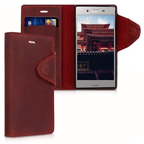 kalibri Sony Xperia XZ1 Compact Hülle - Leder Handyhülle für Sony Xperia XZ1 Compact - Dunkelrot - Handy Wallet Case Cover