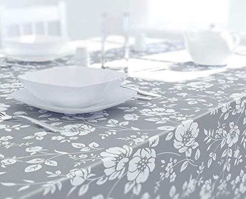 Dehaus® Grau Schöne PVC Tischdecke Abwaschbar, Abwischbare Rechteckige Wachstuch, Wachstuchtischdecke, Tischdecken, Wasserabweisende Tischtuch 200 cm x 140 cm (Blume Blüte)