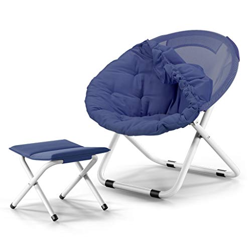 NYDZDM Moon Chair Silla portátil con Silla Plegable Ajustable Adultos tumbonas para Adultos Lazy Chair Silla de Radar Silla Lounge Sillas Plegables Sillas Redondas Silla de sofá (Color : Blue)