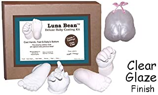 Luna Bean Deluxe 3D Prints Baby Casting Kit - Mold and Cast Infant Foot and Hand (Clear Glaze)