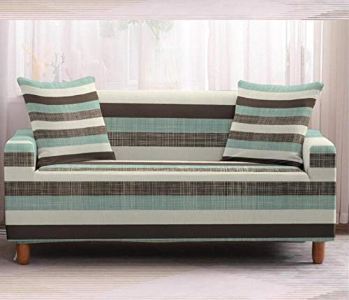 Funda de sofá de 3 Plazas Funda Elástica para Sofá Poliéster Suave Sofá Funda sofá Antideslizante Protector Cubierta de Muebles Elástica Rayas Verdes Funda de sofá