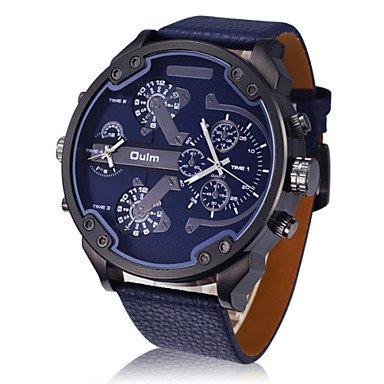 XKC-watches Herrenuhren, Oulm® Männer Dualzeit Militäruhr Aviator-Design große Zifferblatt Lederband (Farbe : Blau, Großauswahl : Einheitsgröße)