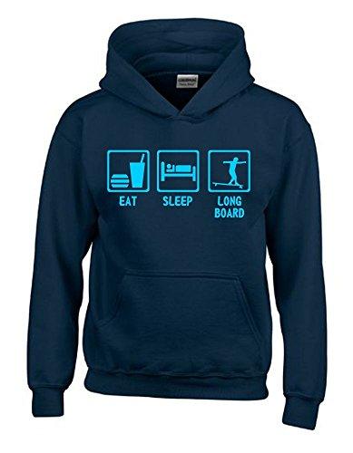 Coole-Fun-T-Shirts EAT Sleep Longboard Kinder Sweatshirt mit Kapuze Hoodie Navy-Sky, Gr.152cm