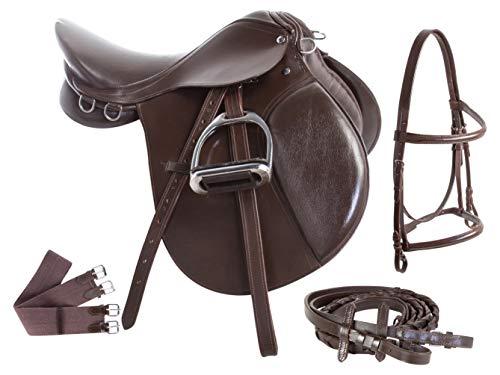 AceRugs PRO Series Premium Leather Brown Black English Riding Pleasure Trail All Purpose Jumping Horse Saddle TACK Stirrups Irons