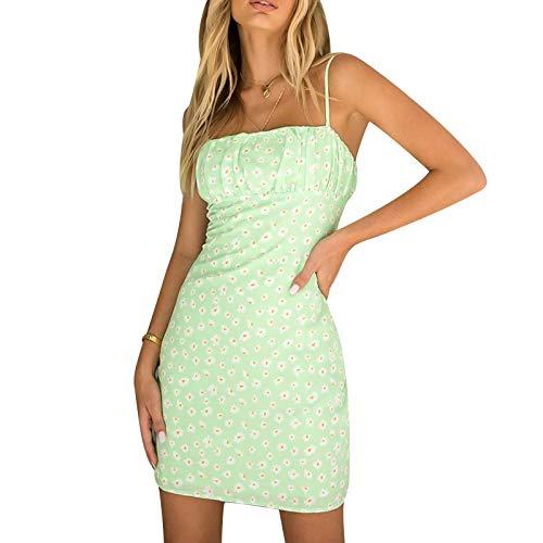 Olisenci Sexy Mini-Neckholder-Kleid Für Damen, Eng Anliegendes, ärmelloses Rock-Party-Partykleid Mit Einfarbigem Schlitz (Grün, S)