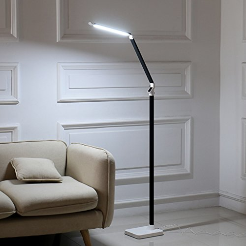 Staande lamp, moderne woonkamerlamp, met afstandsbediening, voor slaapkamer, nachtkastje, LED (kleur: goud)