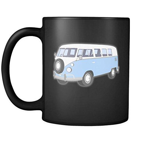 HIPPIE CAMPER VAN MUG VW 1963 Vintage Blue Camping Bus Coffee Or Tea Ceramic Black Mugs 11 Oz.