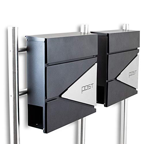 BITUXX® Design Doppel Standbriefkasten 16779 Briefkasten Briefkastenanlage Freistehender Postkasten mit Zeitungsfach Anthrazit Graphit Edelstahl