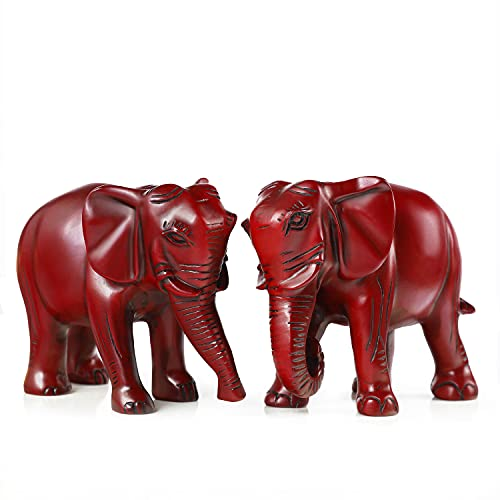 Red Elephant Ornaments Home Decorations for Living Room Elephant Gifts Statues Home Decor Accessories Office Ornaments One Pair of Elephants Ornament for The Home Halloween Tree Decorations(one Pair)