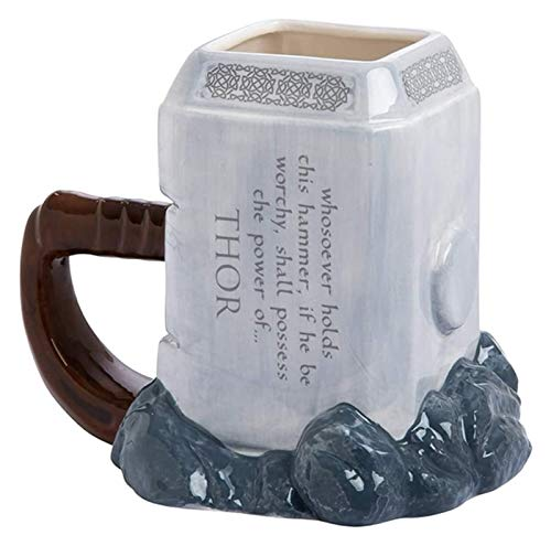DWhui Modern Style Tea And Coffee Cups Mugs 3D Ceramic Mug, Creative Cartoon Coffee Cup, Classic Thor Hammer Shape, Used For Decorative Gift Collection, 450mL