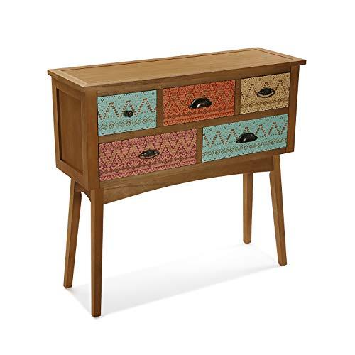 Versa Shikar Meuble d'Entrée Étroit pour l'Entrée ou Couloir, Table Console, avec 5 tiroirs, Dimensions (H x l x L) 84,5 x 30 x 90 cm, Bois, Couleur: Marron