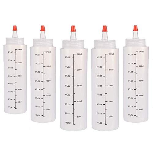 5 Pezzi Spremere Le Bottiglie di Salsa, Bottiglie di Plastica da Spremere 250ml, Bottiglie di Plastica da Spremere con Ugelli, per Ketchup, Senape, Salsa Barbecue, Salsa al Peperoncino e Olio d'Oliva