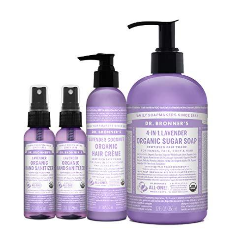 Dr. Bronner's 4-Piece Organic Lavender Gift Set. (2) 2 oz. Lavender Hand Sanitizer Spray, (1) 6 oz. Lavender Hair Conditioning & Styling Crème, (1) 12 oz. 4-in-1 Lavender Sugar Soap w/Pump