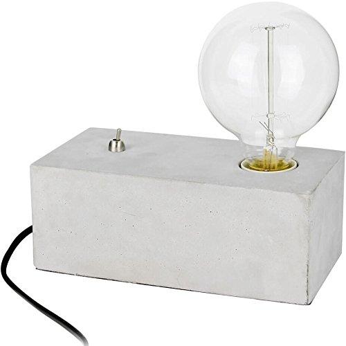 Beton Tischlampe Quader mit Metallschalter am Fuß inkl. Edison-Glühbirne (Ø 9cm)
