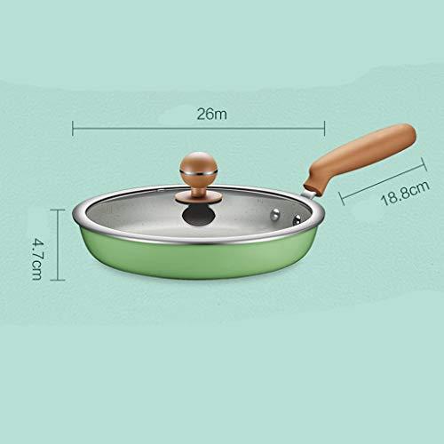 Sartén wok para carne de maifan con revestimiento de piedra, antiadherente, multimaceta, cazuela Jam Pan, verde, 26*4.7cm