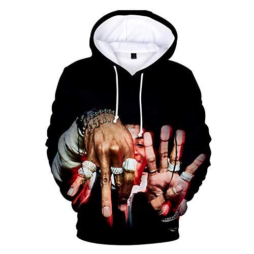 Black Melody YoungBoy Never Broke Again Unisex Hoodie 3D Printed Hooded Pullover Sweatshirt for Men Women Boys Girls XXL