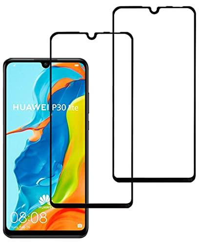 Eachy Vetro Temperato Huawei P30 Lite, [2 Pezzi] Pellicola Protettiva Huawei P30 Lite Protezione Schermo Copertura Completa Bordo a Bordo 6,15 Pollici-Nero