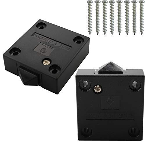 VISSQH 6Pcs Interruptor para Armarios,Empuje de superficie Interruptor de contacto para puerta de mueble Iluminación Interruptor automático 2A 250V la luz de puerta del interruptor del empuje negro