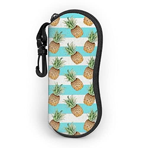 Funda suave de gafas de sol de piña con clip de cinturón, estuche portátil con cremallera, bolsa de gafas de neopreno ultra ligero portátil con cremallera