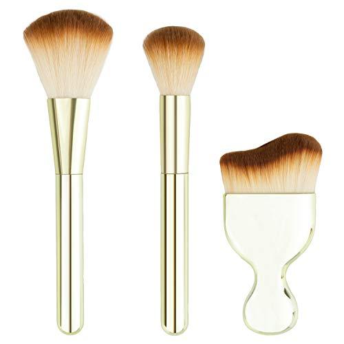 Nicole Miller 3 Pc Powder Makeup Brush Set, Face Makeup Brushes, 1 Powder Brush, 1 Air Brush Blender, 1 Blending Brush - Gold