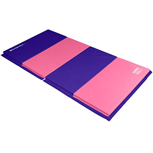 We Sell Mats 4 ft x 8 ft x 2 in Gymnastics Mat, Folding Tumbling Mat, Portable with Hook & Loop Fasteners, Purple / Pink