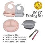 Kcuina 6 Piece Baby Feeding Set- Includes 2 Silicone Bibs, 1 Strong Suction Divided Plate, 1 Strong Suction Bowl & 2 Soft Spoon Set- Food Grade & FDA Approved Silicone (Pink/Gray)