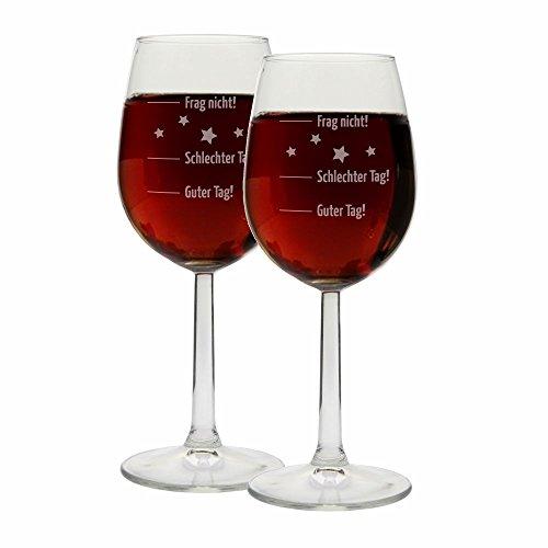 4you Design Set 2 Stück Weingläser Motiv Guter Tag, Schlechter Tag, Frag originelles Geburtstagsgeschenk Frau & Mann - Stimmungsglas Rotweinglas/Weißweinglas