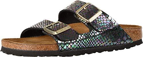 Birkenstock Unisex Arizona Shiny Snake Black Multi Birko-flor Sandals - 5-5.5 B(M) US Women